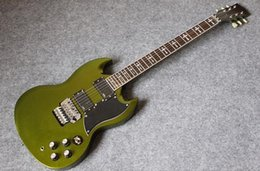 Wholesale Sg Electric Guitars - Custom Shop Metallic Green Tony Lommi SG Electric Guitar Upgraded Floyd Rose Tremolo Iron Cross Inlay Chrome Harwdare