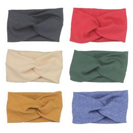 Wholesale Cross Wrap Hair - Wholesale- Uunik - Baby Elastic Cotton Headband Girls Cross Head Wraps Hair Bands Kids Hair Accessories Headwear -Red Black Blue Green Gray