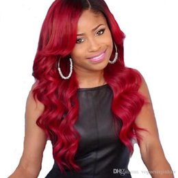 Wholesale Malaysian Full Lace Wigs Red - 150% Density Ombre Lace Front Wig 1B Red Human Hair Wigs Body Wave Full Lace Wigs For Black Women