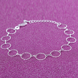 Wholesale romantic gifts lovers - 12Pcs Lot Women Classic Romantic Circle Anklets 925 Sterling Silver Jewelry Girls Trendy Fashion Foot Chain Wedding Party Gift Free Shipping