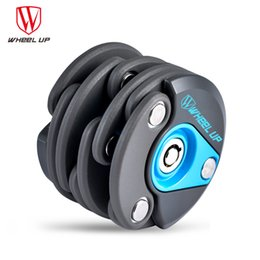 Wholesale U Wheels - Wheel Up 2016 New Anti-theft Chain Cable Bike Lock Mini Foldable Hamburger Security Steel Bicycle Folding Lock Cycling Accessory
