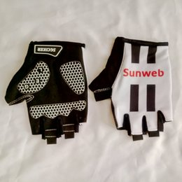 Wholesale Uci Cycling - 2017 uci pro tour team sunweb Cycling glove GEL shock absorption mens high quality summer half finger Bike gloves Size m-XL