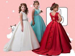 Wholesale Crystal Wedding Sash Rhinestone - Satin Bow Crystal Sash Sweep Train Hollow Ball Gown Cute Flower Girls' Dresses Cheap Wedding Dresses
