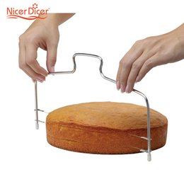 Wholesale Bread Wire - Wholesale- Cake Bread Slicer Cutter Stainless Steel Adjustable Wire Cake Slicer Knife Easy Cake Separation Tool Kitchen Accessories