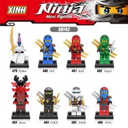 Wholesale Ninja Blocks - 120pcs Mix Lot Ninja Minifig Pythor Jay Kai Lloyd Kozu Cole Zane Nya Figure XINH X0143 Mini Building Blocks Figures