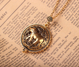 Wholesale Long Elephant Pendant Necklace - Retro Ancient Gold Color Elephant Long Necklace Fashion Circle Unisex Magnifier Pendant Antique Animal Jewelry Birthday Gift