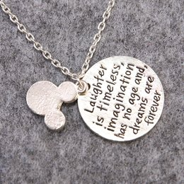 """Wholesale D Pendants - Mickey Ear Sets Pendants Necklace """"Laughter is Timeless,Imagination Has No Age And,Dreams Are Forever"""" Letters Pendants Beautiful Necklace"""