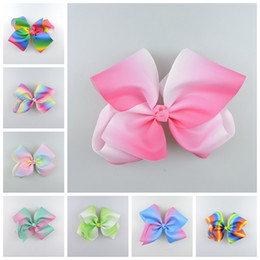 Wholesale Pageant Hair Bows - 10pcs 18cm Pastel flora ombre ribbon hair bows clips Prom Rainbow Striped Dance Cheerleader Pageant hair Accessories HD3476