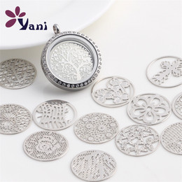 Wholesale Windows Float - Wholesale- 20pcs lot Free Shipping Mixed Design Round Window Plate Charms Silver Floating Locket Plates For 30mm Glass Memory Locket