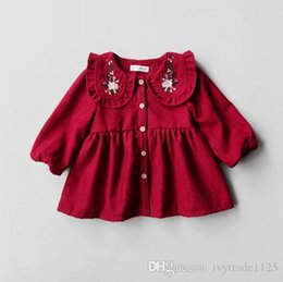 Wholesale Thick Girl Dresses Sleeves - Ins selling Korean style girl red pet pan collar with flower emboridery dress long sleeve fall thick Dress 100% cotton little princess dress