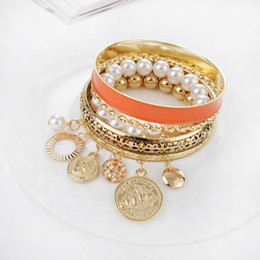 Wholesale Dhl Shipping Gold Coins - Multilayer Pearl Bangles Fashion Gold Plated Hollow Bracelet Bohemian Six Sets Alloy Coins Bangles women jewelry DHL Free Shipping