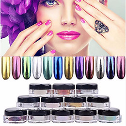 Wholesale Powdered Metals - Trendy DIY Shinning Chrome Mirror Powder Nail 12 Colors Metal Nail Art Tip Decoration Pigment Glitters Dust 3g