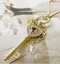 Wholesale Golden Crown Necklace - x67 2016 European and American long section of love golden crown key necklace sweater chain