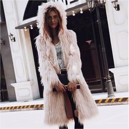 Wholesale Fox Fur Strips - Deluxe Women Long Fox Fur Coats 2017 Autumn Winter Warm Fluffy Thicken Hooded Cardigan Overcoats Fashion Style Hairy Hoodies Jacket Parka