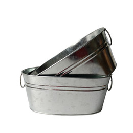 Wholesale Wholesale Large Flower Pots - 10Pcs Lot Free Shipping Cheap Wholesale Metal Planter Galvanized Bucket garden large iron pot Oval Sharp