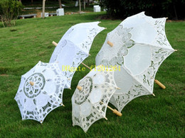Wholesale Small Parasol Umbrellas - 5pcs lot Fast Shipping Newest Big & Small Elegant lace parasols Bridal Wedding umbrella 2 colors available