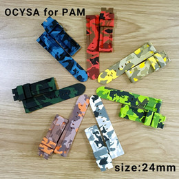 Wholesale Panerai Watches - Luxury watch camouflage Rubber strap silicone waterproof Strap without buckle fit for PANERAI PAM watch.