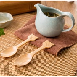 Wholesale Mini Wooden Spoons - 100% Natural Wood Mini Spoon For Children Cute 4 Styles Animal Model Wooden Spoon Environmental Protection Tableware