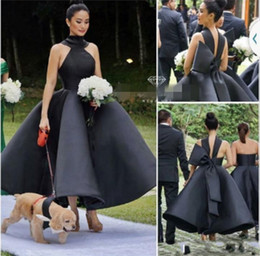 Wholesale Big Red Pictures - Black Sexy Ball Gown High Neck Prom Dresses Sleeveless Big Bow Off Shoulder Formal Evening Gown Ankle Length Cheap Party Dress