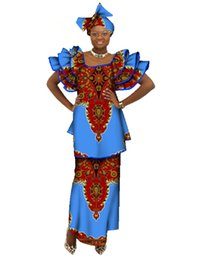 Wholesale Tiered Print Dresses For Women - Skirt and Top Set Private Custom Printed Fabric for Africa Women Wax Plus Size Women Clothing African Skirt and Top Set WY071