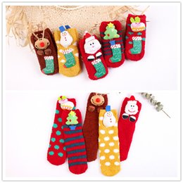 Wholesale Three Dimensional Christmas Stockings - Christmas socks parent-offspring Christmas Stocking three-dimensional cartoon Coral flooring socks skid resistance keep warm Free Shipping