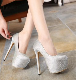 Wholesale Size 35 Bridal Platform - Sexy bridal wedding shoes platform ultra high heel silver satin rhinestone studded shoes 16cm size 35 to 40