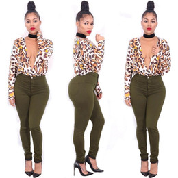 Wholesale Tightest Shortest Leopard Shorts - Woman Printing T Shirt 2016 Autumn Woman New Sexy Nightclub Printing Leopard Pattern Fashion Tight Deep V Neck Long Sleeve Milk Silk T Shirt