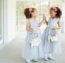 Wholesale Children Bridesmaids Dresses Pink - Light Blue Wedding Flower Girl Dresses Ankle Length Tulle Sash V Neck 2017 Cheap Custom Made Junior Bridesmaid Dress Baby Child Party Gowns