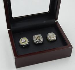 Wholesale 3pcs Fashion Ring Sets - 3PCS With Wooden box Newest Men fashion sports collection jewelry San Francisco Gia nts championship rings set fans souvenir gift