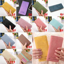 Wholesale Woman Slim Card Holder - Wholesale- New Fashion Vintage Women Purse Female Slim Long Wallet Card Holder Bag Matte Leather Wallets LBY2017