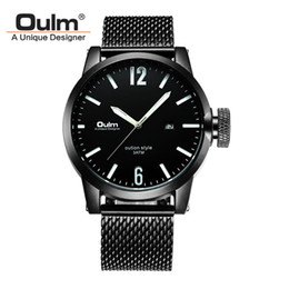 Wholesale Oulm White - Oulm Brand Mens Business Wristwatch Stainless Steel Watch Band Quartz Watch Auto Date Male Clock Relogio Masculino