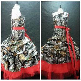 Wholesale Satin One Shoulder Wedding Dress - One Shoulder Ball Camo Wedding Dress Red Tulle Formal Ribbon Bridal Gowns 2017 Custom Sleeveless Camouflage Satin Vestidos De Novia