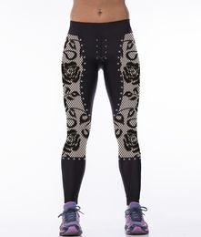 Wholesale wholesale black leggings designs - Wholesale- 2016 New Design 3 Patterns 3D Vintage Floral Black Women Gym Pants White-Black Striped Running Leggings S To 3XL