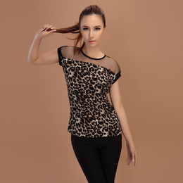 Wholesale Wholesale Sheer T Shirts - Wholesale- Summer Lady Punk Rock Leopard Sheer Mesh T-Shirts Crew Neck Short Sleeve Slim Top