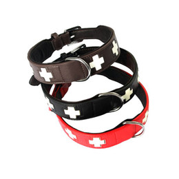 Wholesale Glow Crosses - LED Adjustable PU Leather Luminous Collar For Dogs Durable Cross Style Night Glowing Dog Collar Light Pet Accessories S  M  L