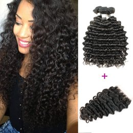 Wholesale Natural Remy - Brazilian Deep Wave Hair With Closure 3 Bundles with Lace Closure Natural Brown Peruvian Indian Malaysian Curly Virgin Human Hair Bundles