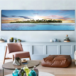 Wholesale Fashion Watercolor - The Island At Sunrise In The Sea Frameless Landscape Painting