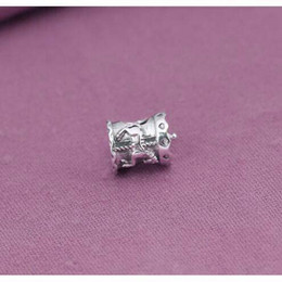 Wholesale Tube 925 - Original guarantee 925 sterling silver horse tube silver bead Fits European Pandora Charms Bracelet jewelry