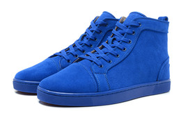 Wholesale Border Print Fabric - New 2017 designer red bottom sneakers ,men women blue suede leopard print high top couples Lovers genuine leather causal trainers