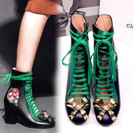 Wholesale Lace Up Flower High Heels - Luxury Fashion Spring Lace Up Embroidered Boots Hollow Out Chunky Heel 8cm Women Ankle Boots Genuine Leather Bowtie High Heel Brand Boots