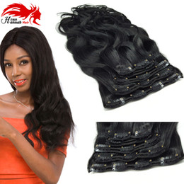 Wholesale remy clip ins - Hannah 10-26Inch 200G Full Head Clip In Human Hair Extenstions Body Wavy Malaysia Remy Hair 100% Human Hair Clip ins