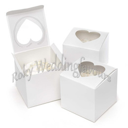 Wholesale Party Supplies Candy - Free Shipping 300pcs 3inch White Glossy Heart Shaped Window Cupcake Boxes Candy Boxes Favors Wedding Party Table Setting Supplies