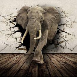 Wholesale Fabric Photo Paper - 3D Lifelike Animal Mural Wallpaper Customized Rhino Lion Elephants Non-Woven paper Wall Mural New Photo Wallpaper Hoom Decor