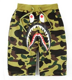 Wholesale Wide Leg Pants L - Hot Summer Men's Shark Shorts Cotton Camo Causal Shorts Men Casual Camouflage Skateboard Short Pants Loose Streetwear