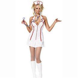 Wholesale Sexy Nurse Lingerie Set - 2015 new items Sexy Uniform Game Anime Costume Nurse White Halter Jumpsuit Lingerie Set Role Playing Clothing SMG88002