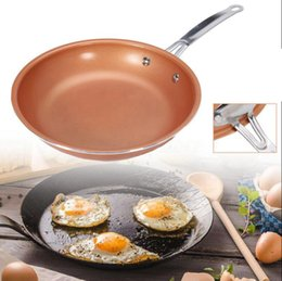 Wholesale Ceramic Coated Pans - Non Stick Copper Chef Frying Pan with Ceramic Coating Steel Round Skillet Nonstick Cooking Oven Pans OOA2821