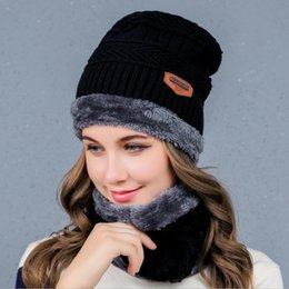 Wholesale Plain Blue Sweater - Women's Knitted Hat and Scalf Kit Winter Warm Beanie Velvet and Sweater Hats Lovely Casual Wool Hats and Scarf 2 Pieces a Set JN