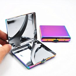 Wholesale Cigarette Case Box Holder - Rainbow Colors Ice Blue Metal Cigarette Case Fashion Generous 20Pcs Cigar Box Holder Delicate Tobacco Storage Container