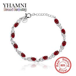 Wholesale 925 European Crystal Beads - YHAMNI Original 925 Silver Bracelet Red charm Bracelet with Red Gem Diamond Health Fashion Luxury Jewelry For Women H350