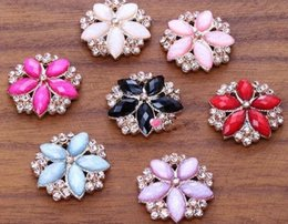 Wholesale Metal Embellishment Free Shipping - 50pcs lot,27mm rhinestone embellishments metal buttons Flowers alloy accessories Wedding Craft Buttons, Wholesale Free Shipping